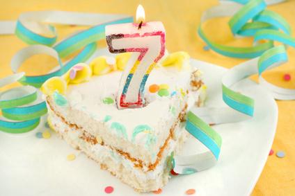 slice of seventh birthday cake
